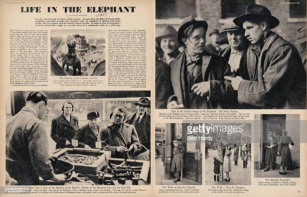 A doublepage layout at the beginning of a feature on the Elephant And Castle area of south London published in Picture Post magazine 8th January 1949...