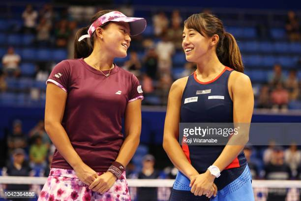 Doubles champion Makoto Ninomiya and Miyu Kato of Japan talk during the ceremony after the Doubles final against Barbora Strycova and Andrea Sestini...