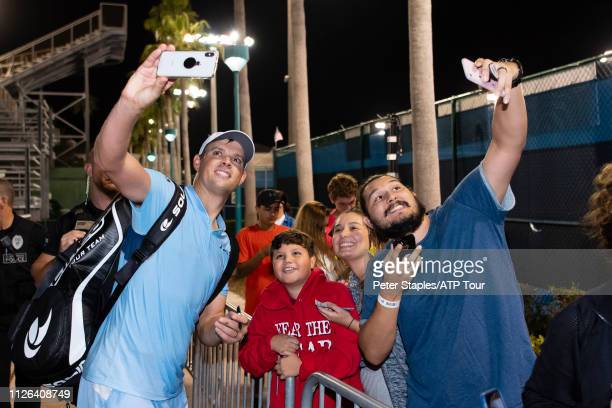 Doubles match winner Bob Bryan of the USA doing selfies with fans at the Delray Beach Open held at the Delray Beach Tennis Center on February 20 2019...