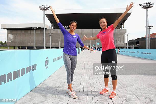 Doubles players Shuai Peng of China and SuWei Hsieh of Taipei pose for a photo during day six of the Mutua Madrid Open tennis tournament at the Caja...