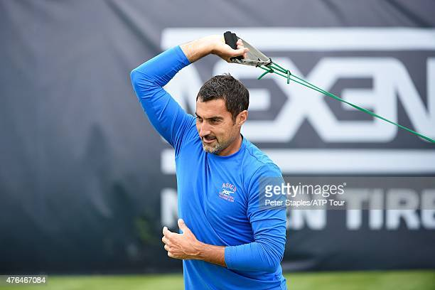 Doubles specialist Nenad Zimonjic of Serbia warming up on the practice courts at the Mercedes Cup on June 9 2015 in Stuttgart Germany