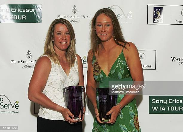 Doubles team of the Year winners Lisa Raymond of the US and Samantha Stosur of Australia pose with their awards backstage for the Stars for Stars A...