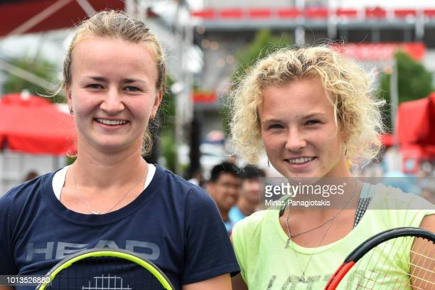 Doubles teammates Barbora Krejcikova and Katerina Siniakova of the Czech Republic pose for a photo in the fan zone during the Olympic Challenge on...