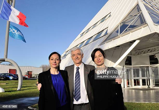 Doublet group General director Gaelle CollaertDoublet CEO Luc Doublet and President Agathe Doublet pose outside the company's headquarters in Avelin...