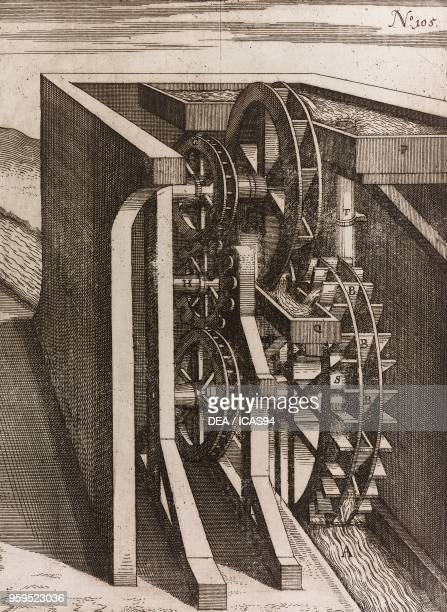 Doublewheeled waterraising mill copperplate engraving from Theatrum Machinarum Novum Plate 105 by Georg Andreas Boeckler Coloniae Agrippinae 1662