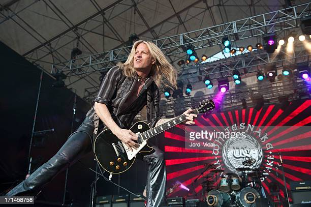 Doug Aldrich of Whitesnake performs on stage at Poble Espanyol on June 24 2013 in Barcelona Spain