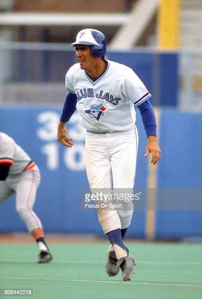 Doug Ault of the Toronto Blue Jays leads off of second base against the Detroit Tigers during an Major League Baseball game circa 1978 at Exhibition...