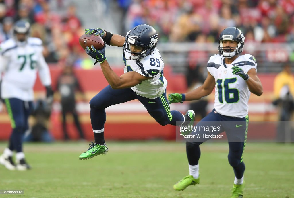 Doug Baldwin #89 of the Seattle Seahawks catches a 23-yard pass against the San Francisco 49ers during their NFL football game at Levi's Stadium on November 26, 2017 in Santa Clara, California. The Seahawks won the game 24-13.