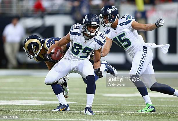 Doug Baldwin of the Seattle Seahawks runs with the ball during the NFL game against the St Louis Rams at Edward Jones Dome on October 28 2013 in St...