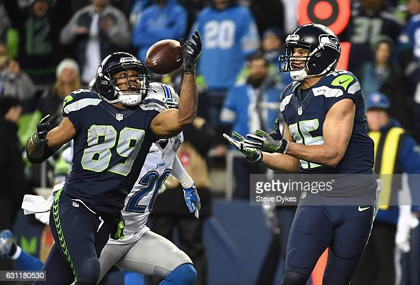 Doug Baldwin of the Seattle Seahawks scores a 13yard touchdown during the fourth quarter against the Detroit Lions in the NFC Wild Card game at...