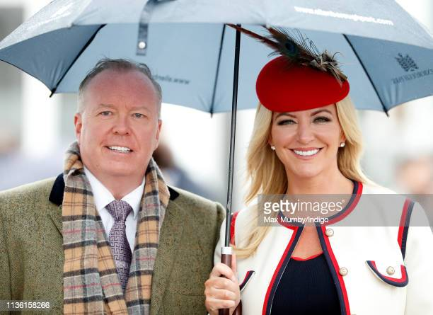 Doug Barrowman and Baroness Michelle Mone attend day 4 'Gold Cup Day' of the Cheltenham Festival at Cheltenham Racecourse on March 15 2019 in...