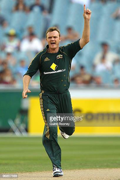 Doug Bollinger of Australia celebrates the wicket of Travis Dowlin of the West Indies during the Fifth One Day International match between Australia...