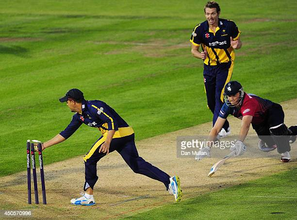 Doug Bollinger of Kent is run out by Jacques Rudolph of Glamorgan on the last ball to tie the game during the NatWest t20 Blast match between...