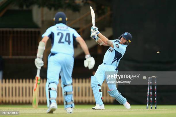 Doug Bollinger of NSW is bowled by Will Sutherland of Victoria during the JLT One Day Cup match between New South Wales and Victoria at North Sydney...