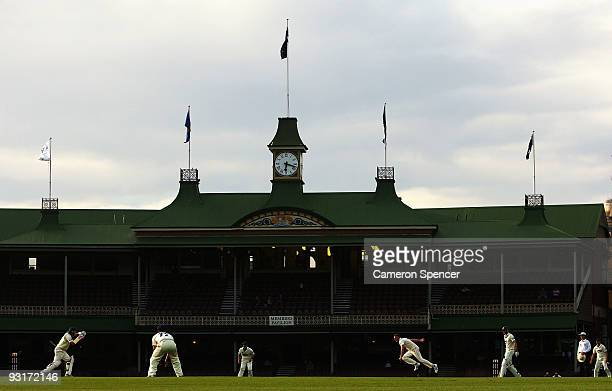 Doug Bollinger of the Blues bowls during day two of the Sheffield Shield match between the New South Wales Blues and the Tasmanian Tigers at Sydney...