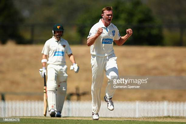 Doug Bollinger of the Blues celebrates dismissing Jordan Silk of the Tigers during day two of the Sheffield Shield match between the New South Wales...