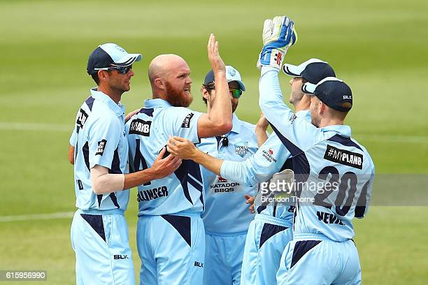 Doug Bollinger of the Blues celebrates with team mates after claiming the wicket of Aaron Finch of the Bushrangers during the Matador BBQs One Day...