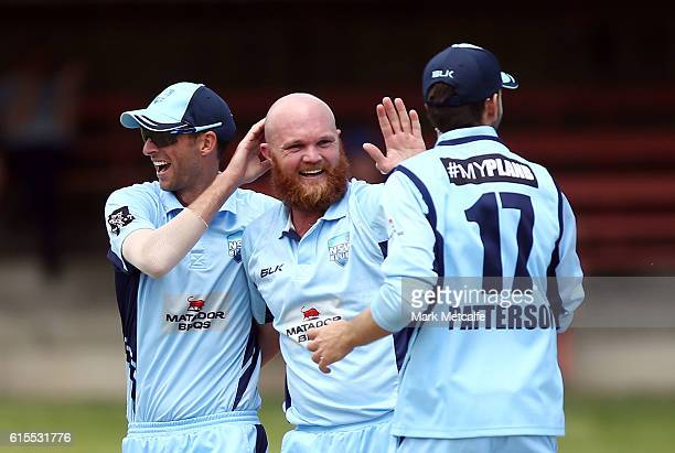 Doug Bollinger of the Blues celebrates with team mates after taking the wicket of Ashton Turner of the Warriors during the Matador BBQs One Day Cup...