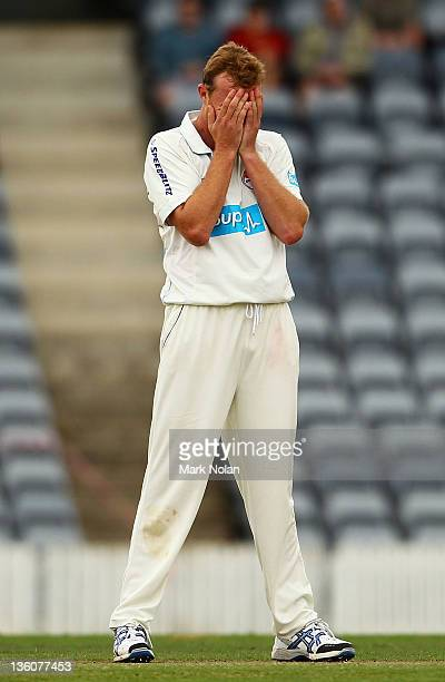 Doug Bollinger of the Chairmans XI reacts after an appeal was turned down during day one of the International Tour match between India and the...