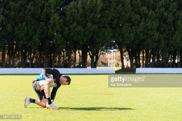 Doug Bracewell looks on during a New Zealand Blackcaps training session at the New Zealand Cricket High Performance Centre on May 13, 2021 in...