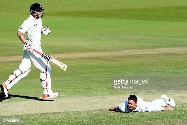 Doug Bracewell of New Zealand and Dale Steyn of the Proteas during day 4 of the 2nd Sunfoil International Test match between South Africa and New...