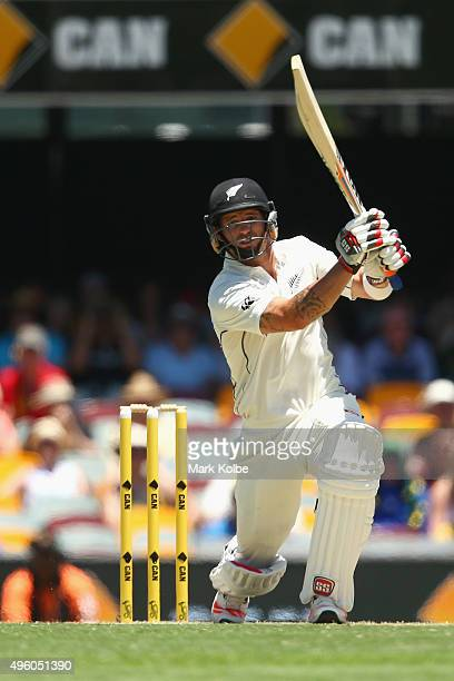 Doug Bracewell of New Zealand bats during day three of the First Test match between Australia and New Zealand at The Gabba on November 7 2015 in...