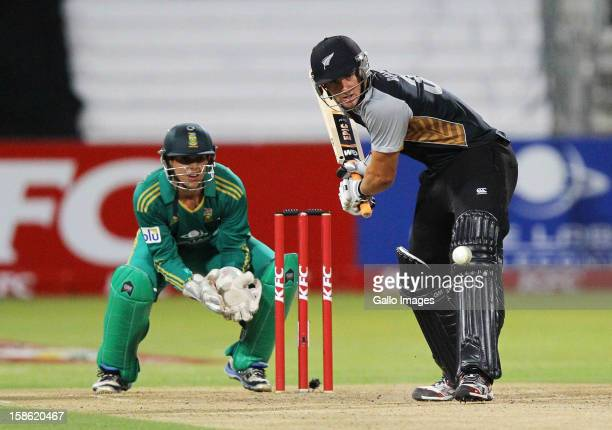 Doug Bracewell of New Zealand bats during the 1st T20 match between South Africa and New Zealand at Sahara Park Kingsmead on December 21 2012 in...