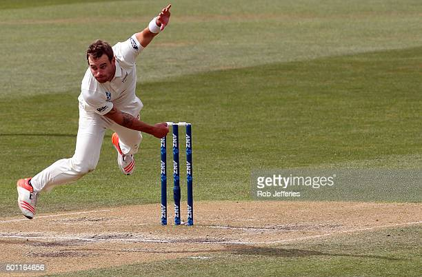 Doug Bracewell of New Zealand bowls during day four of the First Test match between New Zealand and Sri Lanka at University Oval on December 13 2015...