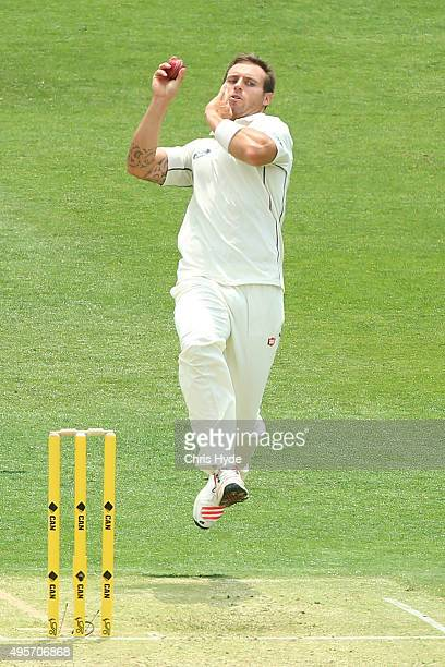 Doug Bracewell of New Zealand bowls during day one of the First Test match between Australia and New Zealand at The Gabba on November 5 2015 in...
