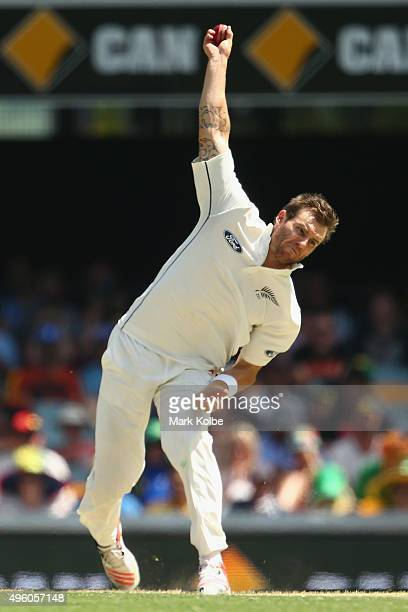 Doug Bracewell of New Zealand bowls during day three of the First Test match between Australia and New Zealand at The Gabba on November 7 2015 in...