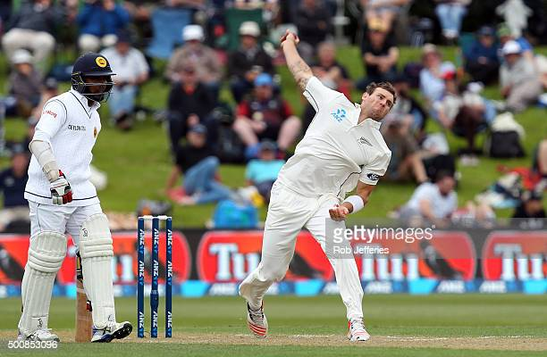 Doug Bracewell of New Zealand bowls during day two of the First Test match between New Zealand and Sri Lanka at University Oval on December 11 2015...