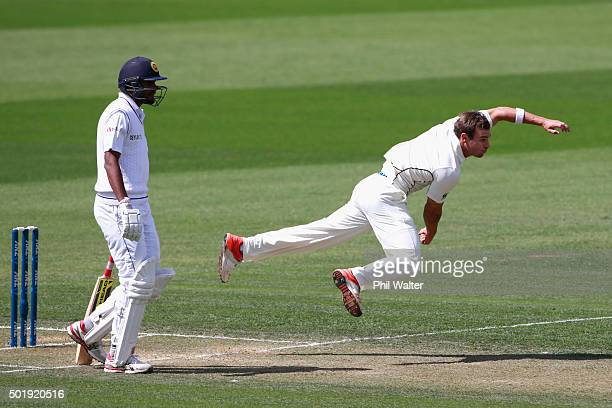 Doug Bracewell of New Zealand bowls during day two of the Second Test match between New Zealand and Sri Lanka at Seddon Park on December 19 2015 in...