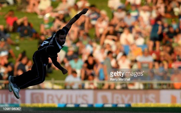Doug Bracewell of New Zealand bowls during game one of the One Day International series between New Zealand and India at McLean Park on January 23,...