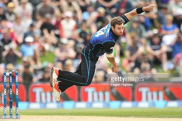 Doug Bracewell of New Zealand bowls during the second One Day International game between New Zealand and Sri Lanka at Hagley Oval on December 28 2015...