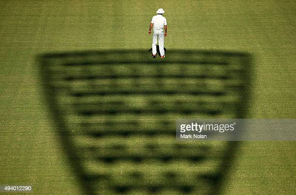 Doug Bracewell of New Zealand fields in the out field during the tour match between the Cricket Australia XI and New Zealand at Manuka Oval on...