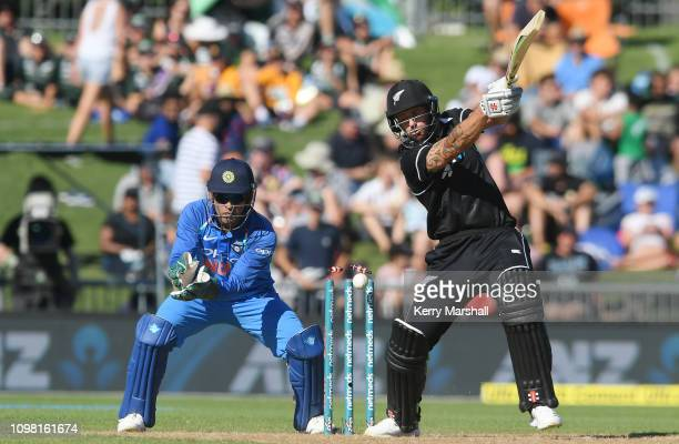 Doug Bracewell of New Zealand plays the ball onto his wickets during game one of the One Day International series between New Zealand and India at...