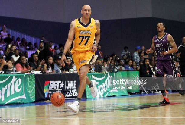 Doug Christie and Jonathan Clark at the Celebrity Basketball Game presented by Sprite and State Farm during the 2017 BET Experience at Los Angeles...