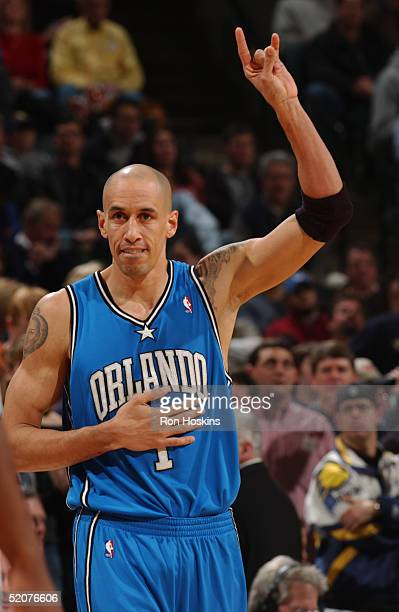 Doug Christie of the Orlando Magic celebrates during the game against the Indiana Pacers at Conseco Fieldhouse on January 15, 2005 in Indianapolis,...