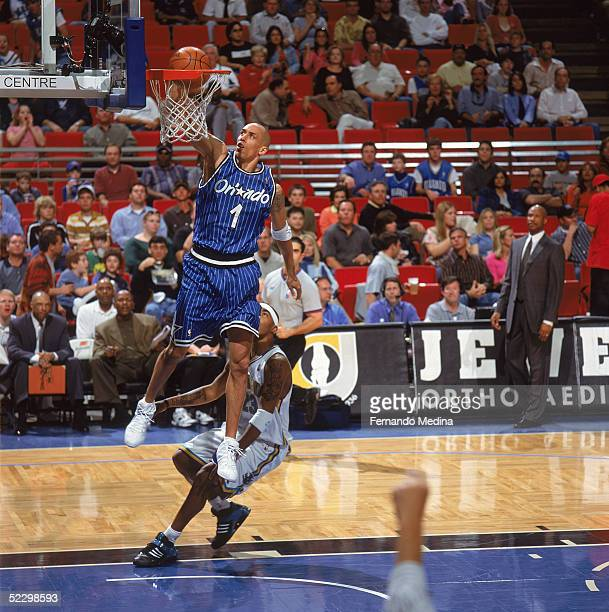 Doug Christie of the Orlando Magic dunks during the game against the New Orleans Hornets at TD Waterhouse Centre on February 15 2005 in Orlando...
