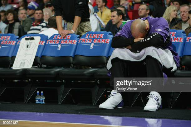 Doug Christie of the Sacramento Kings rests on the bench during the game against the Los Angeles Lakers on December 16 2004 at Arco Arena in...
