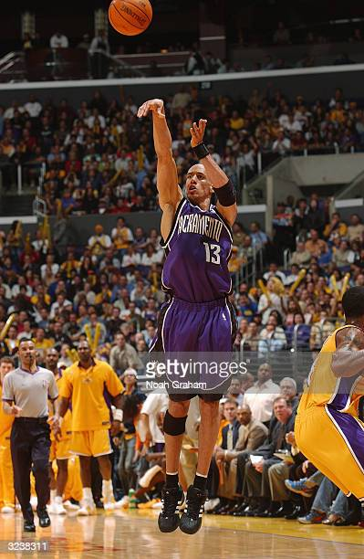 Doug Christie of the Sacramento Kings shoots a jumper during the game against the Los Angeles Lakers on March 24 2004 at Staples Center in Los...