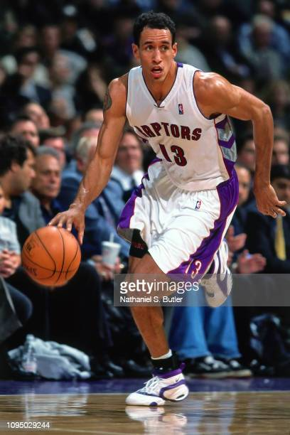 Doug Christie of the Toronto Raptors handles the ball against the Boston Celtics on November 2 1999 at the Air Canada Centre in Toronto Canada NOTE...