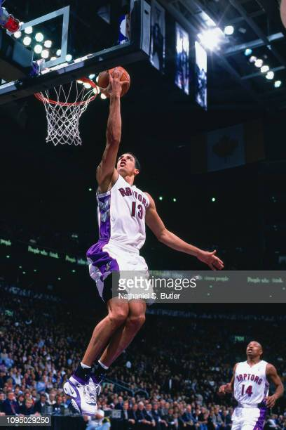 Doug Christie of the Toronto Raptors shoots the ball against the Boston Celtics on November 2 1999 at the Air Canada Centre in Toronto Canada NOTE TO...