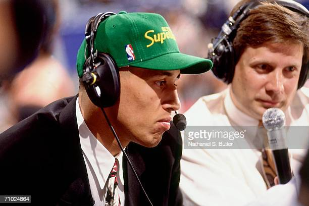Doug Christie sits during an interview after being selected number seventeen by the Seattle SuperSonics during the 1992 NBA Draft on June 24 1992 at...
