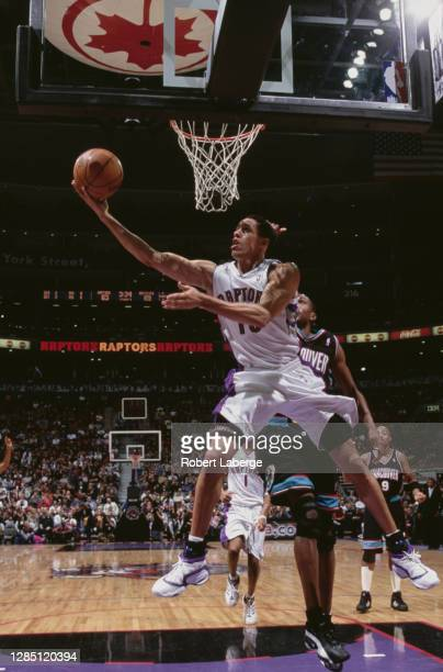 Doug Christie, Small Forward for the Toronto Raptors makes a one handed lay up during the NBA Central Division basketball game against the Vancouver...