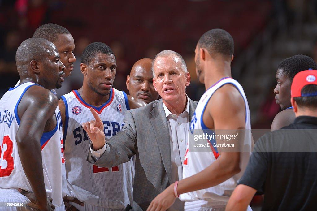 Doug Collins of the Philadelphia 76ers speaks with his team during the game against the Utah Jazz at the Wells Fargo Center on November 16, 2012 in Philadelphia, Pennsylvania.
