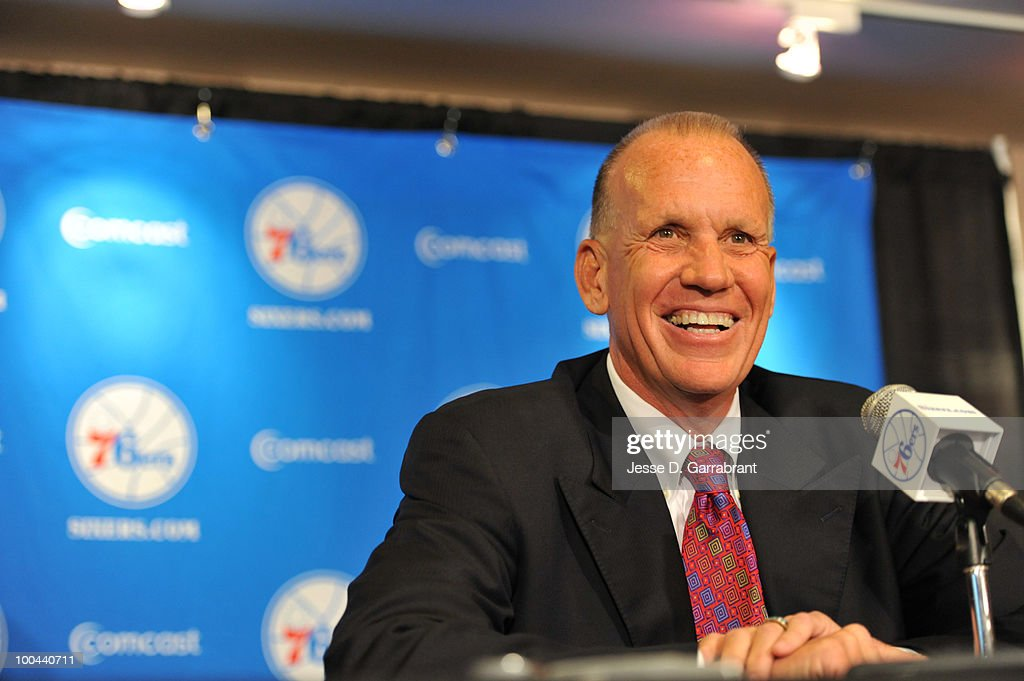 Doug Collins speaks with the media after being named the new coach of the Philadelphia 76ers during the press conference on May 24, 2010 at the Wachovia Center in Philadelphia, Pennsylvania.