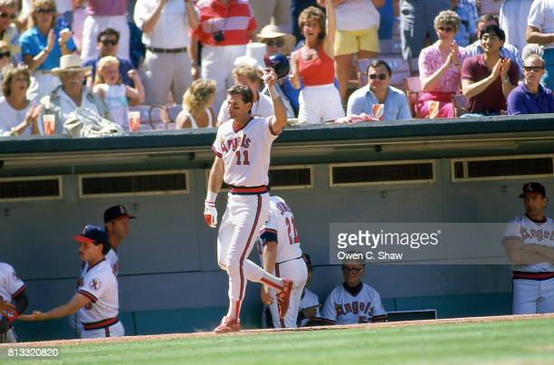 Doug DeCinces of the CAlifornia Angels tips his cap to the crowd at the Big A circa 1985 in Anaheim California
