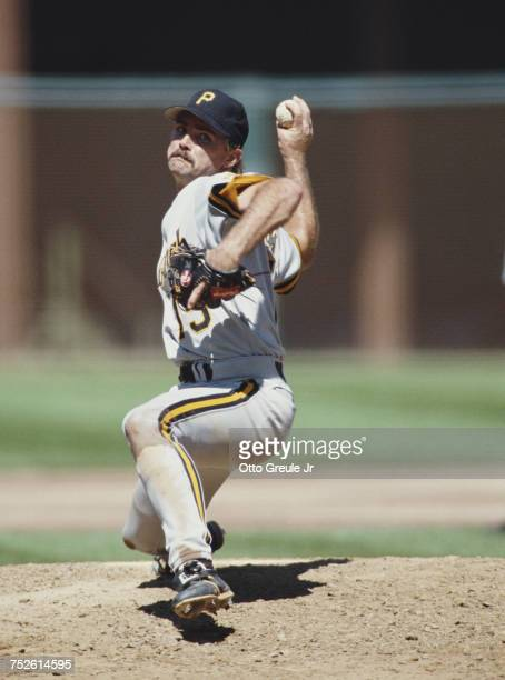 Doug Drabek pitcher for the Pittsburgh Pirates throws a pitch during the Major League Baseball National League West game against the San Francisco...