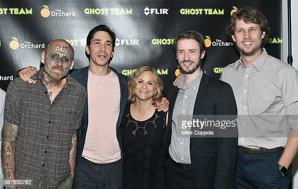 Doug Drucker Justin Long Amy Sedaris Oliver Irving and Jon Heder attend the 'Ghost Team' premiere at The Metrograph on August 9 2016 in New York City